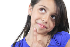 Columbian Little Girl Fun Look in front of a white Stock Photography