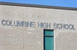 Columbine High School. Jefferson County, Colorado, USA – October 7, 2012: A sign at Columbine High School. Columbine High School was the site of one of the Stock Photo