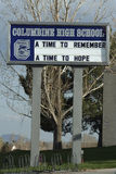 Columbine High School Remembrance. This is the sign at the front of the Columbine High School outside of Denver, Colorado. Columbine is the site of the deadliest Royalty Free Stock Photo