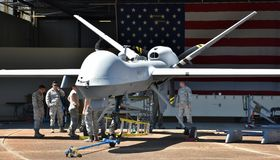 Air Force MQ-9 Predator Drone. Columbus AFB, Mississippi - April 20, 2018: An Air Force MQ-9 Predator drone undergoing maintenance in a hangar at Columbus Air royalty free stock photo
