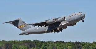 Air Force C-17 Globemaster III. Columbus AFB, Mississippi - April 20, 2018: A U.S. Air Force C-17 Globemaster III cargo plane flying a sortie. This C-17 belongs stock images