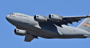 Air Force C-17 Globemaster III. Columbus AFB, Mississippi - April 20, 2018: A U.S. Air Force C-17 Globemaster III cargo plane flying a sortie. This C-17 belongs stock image
