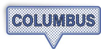 Columbus anförandebubbla som isoleras på vit Royaltyfria Foton