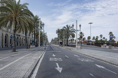 Columbus Avenue in Barcelona Stock Photography
