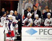 The Columbus Blue Jackets Bench Royalty Free Stock Images