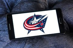 Columbus Blue Jackets ice hockey team logo. Logo of Columbus Blue Jackets ice hockey team on samsung mobile. The Columbus Blue Jackets are a professional ice Stock Images