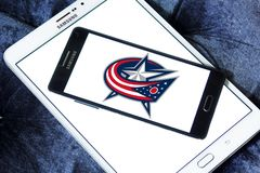 Columbus Blue Jackets ice hockey team logo. Logo of Columbus Blue Jackets ice hockey team on samsung mobile. The Columbus Blue Jackets are a professional ice Royalty Free Stock Images