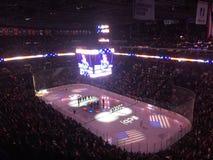Columbus blue jackets Ohio ice hockey part. The blue jackets taking on the New York Islanders at nationwide arena Royalty Free Stock Photo