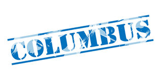 Columbus blue stamp. Isolated on white background Stock Photography