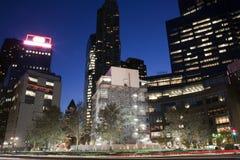 Columbus Circle alla notte in New York Fotografia Stock