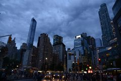 Columbus Circle, de Stadsnacht van New York Stock Afbeelding