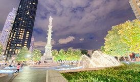 Columbus Circle fyrkant och byggnader på natten, New York City Royaltyfri Foto