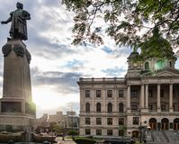 Columbus Circle in downtown Syracuse, NY royalty free stock images