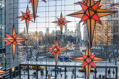 Columbus Circle from Time Warner Center with Christmas Decorations in foreground. New York, USA - December 27, 2014: Columbus Circle from Time Warner Center with stock photo