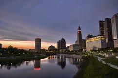 Columbus City Evening Landscape Royalty-vrije Stock Afbeelding