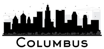 Columbus City skyline black and white silhouette. Stock Images