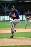 Columbus Clippers' Pitcher in windup. Ready to pitch Royalty Free Stock Images