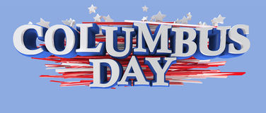 Columbus Day. With American flag stars and stripes. Clipping path included for easy selection Royalty Free Stock Photography