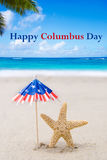 Columbus Day background with starfishes Stock Photos