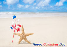 Columbus Day background with starfishes Royalty Free Stock Images