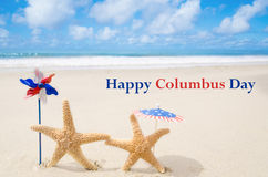 Columbus Day  background with starfishes Royalty Free Stock Image