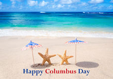 Columbus Day background with starfishes stock photo