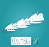 Columbus Day blue poster. Handwritten text with sailing boats Stock Images