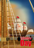 Columbus Day Card. Columbus Day. The view from the deck of one of Columbus ships over the ocean and neighboring Caravel Stock Image