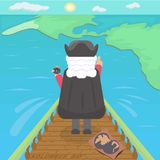 Christopher Columbus discover mainlands of America. Color vector illustration. Columbus day color illustration. Moment of discovering mainlands of America. Map royalty free illustration
