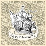 Columbus Day. Vintage poster with hand drawn ship Royalty Free Stock Images