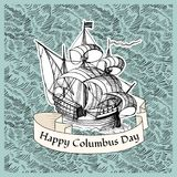 Columbus Day. Vintage poster with hand drawn ship Stock Photos