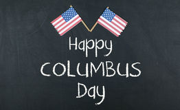 Columbus Day. Concept with American Flag Stock Photos