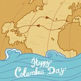 Columbus day concept background, hand drawn style vector illustration
