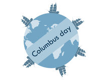 Columbus Day, the discoverer of America. Floating ships. Stock Photo