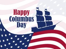 Columbus Day, the discoverer of America, usa flag and ship, holiday banner. Sailing ship with masts. Vector Royalty Free Stock Image
