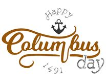Columbus Day feliz que pone letras a la muestra del logotipo de la inscripción imagen de archivo