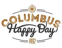 Columbus Day feliz que pone letras a la muestra del logotipo de la inscripción imágenes de archivo libres de regalías