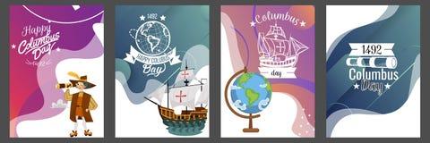 Columbus Day fijó con diseño del logotipo del texto de las letras de la tarjeta de felicitación de los símbolos del compás del ti foto de archivo