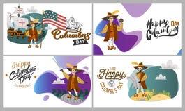Columbus Day fijó con diseño del logotipo del texto de las letras de la tarjeta de felicitación de los símbolos del compás del ti imagen de archivo