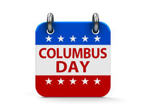 Columbus day icon calendar. Columbus day calendar icon as american flag, three-dimensional rendering royalty free illustration