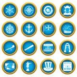Columbus Day icons blue circle set Royalty Free Stock Photo