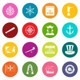 Columbus Day icons many colors set Royalty Free Stock Photography