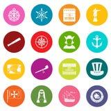Columbus Day icons many colors set royalty free illustration
