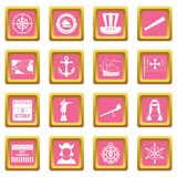 Columbus Day icons pink Royalty Free Stock Photography