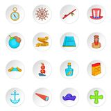 Columbus Day icons se, cartoon style Stock Images
