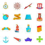 Columbus Day icons set, cartoon style Stock Photos