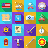 Columbus Day icons set, flatstyle Royalty Free Stock Images
