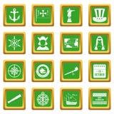 Columbus Day icons set green Royalty Free Stock Photos