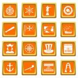 Columbus Day icons set orange Royalty Free Stock Photography