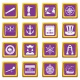 Columbus Day icons set purple Stock Image